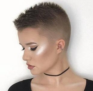Woman with buzzcut haircut