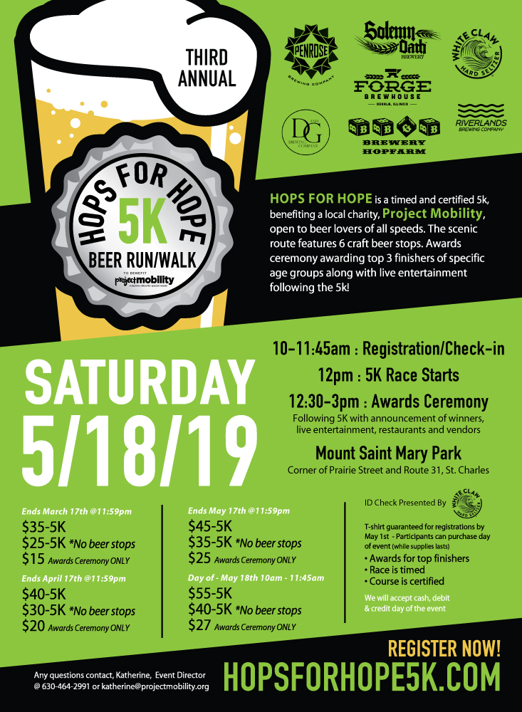 Hops for Hope 5k Beer Run/Walk 2019 in St  Charles, IL